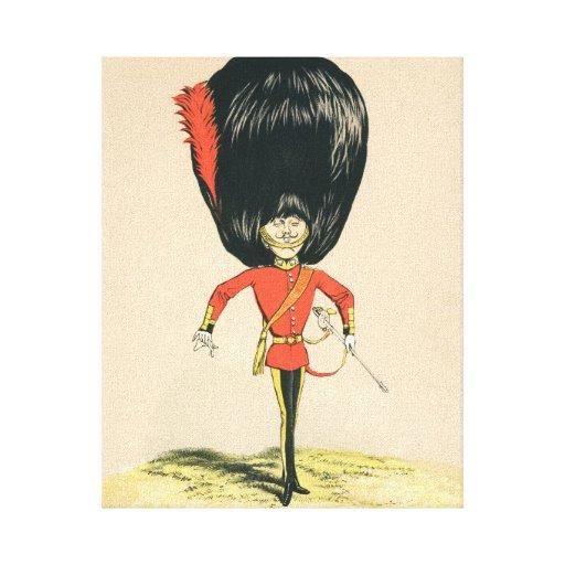 Soldado de la guardia del ejército británico impresión en lienzo estirada