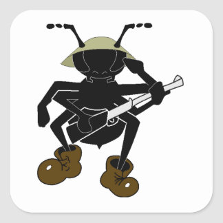 Soldado de la hormiga pegatinas cuadradases personalizadas