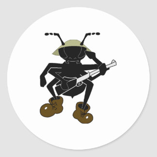 Soldado de la hormiga etiqueta redonda