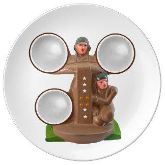 Soldado de la ventaja del vintage platos de cerámica