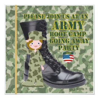 """Soldado de sexo femenino Boot Camp que va lejos Invitación 5.25"""" X 5.25"""""""
