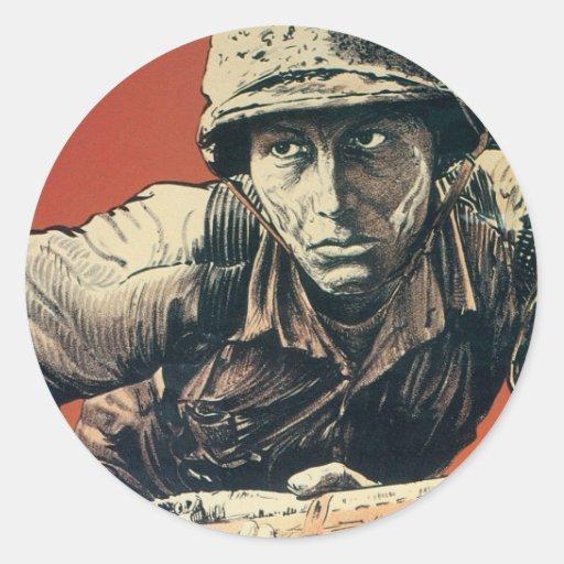 Soldado de WWII Pegatina Redonda