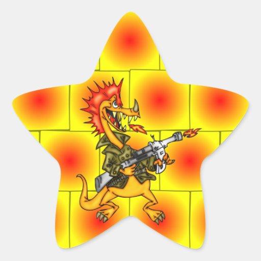 Soldado del dragón pegatina en forma de estrella