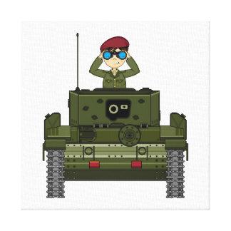 Soldado del ejército británico en lona del tanque lona envuelta para galerías
