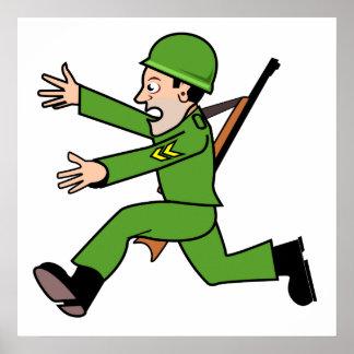 Soldado del ejército del dibujo animado poster
