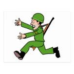 Soldado del ejército del dibujo animado postales