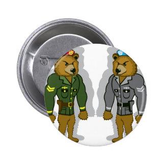 Soldado del oso pin redondo de 2 pulgadas