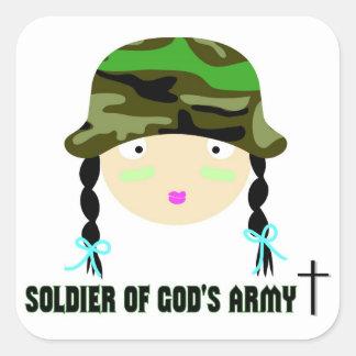 Soldado del regalo del cristiano del ejército de pegatina cuadrada