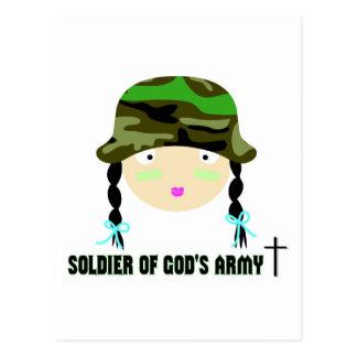 Soldado del regalo del cristiano del ejército de tarjeta postal