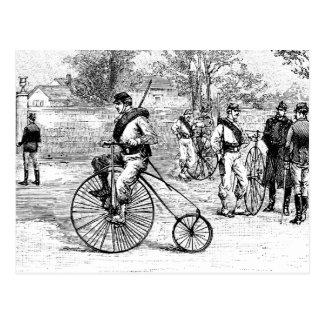 Soldado en la bicicleta del comino del penique tarjetas postales