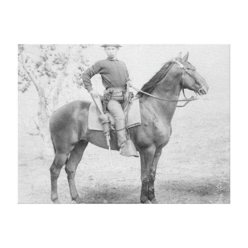 Soldado en su caballo en la fotografía de Dakota d Impresión En Lona Estirada