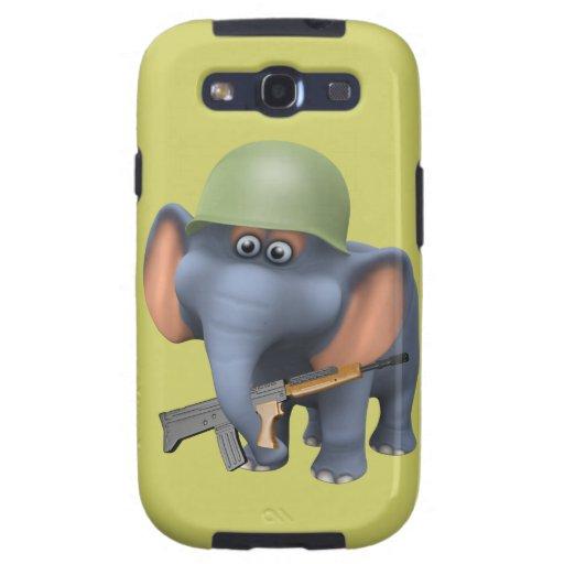 Soldado lindo del elefante 3d (editable) galaxy s3 cárcasas