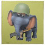 Soldado lindo del elefante 3d (editable) servilleta imprimida