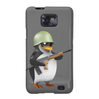 Soldado lindo del pingüino 3d (editable) samsung galaxy SII funda