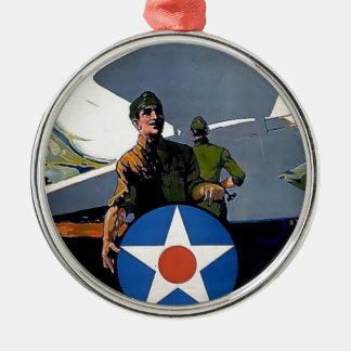 Soldado militar del avión del poster de WWI Adorno Redondo Plateado