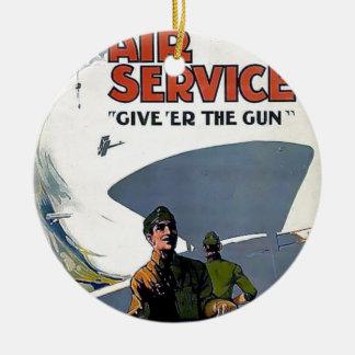 Soldado militar del avión del poster de WWI Adorno Redondo De Cerámica
