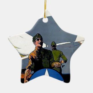 Soldado militar del avión del poster de WWI Adorno De Cerámica En Forma De Estrella