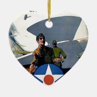 Soldado militar del avión del poster de WWI Adorno De Cerámica En Forma De Corazón