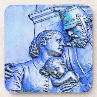Soldado, mujer y bebé prusianos, tinte azul posavasos