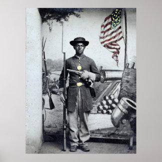 Soldado negro de la unión, 1860s póster