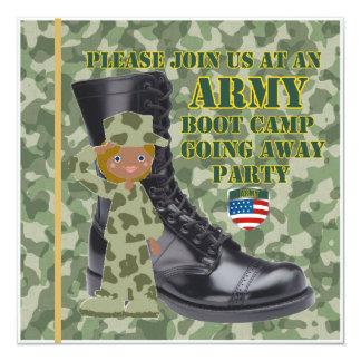 """Soldado negro de sexo femenino Boot Camp que sale Invitación 5.25"""" X 5.25"""""""