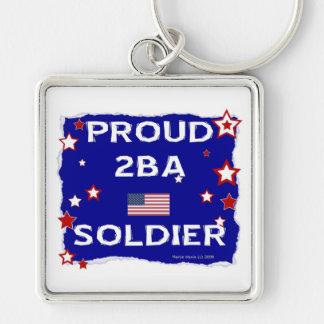 Soldado orgulloso 2BA Llavero Cuadrado Plateado