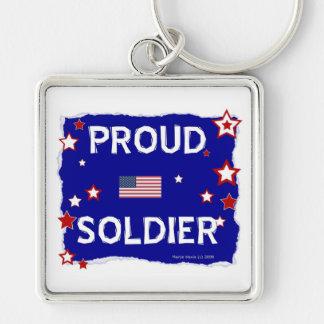 Soldado orgulloso llavero cuadrado plateado