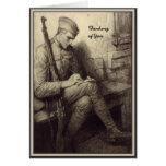 Soldado que escribe a una letra el pensamiento mil felicitación