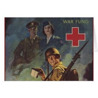 Soldado que sostiene el café tarjeta de felicitación