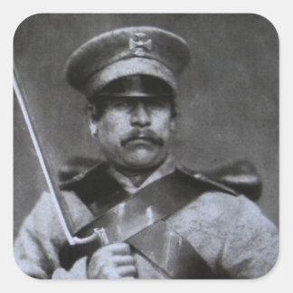 Soldado ruso pegatina cuadrada