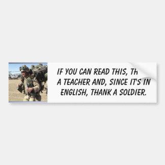 Soldado, si usted puede leer esto, profesor del th pegatina para auto