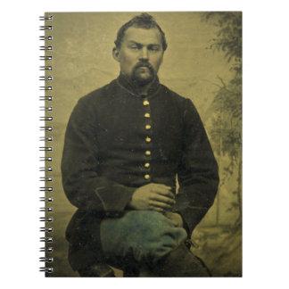 Soldado Tintype de la unión de la guerra civil Libros De Apuntes Con Espiral