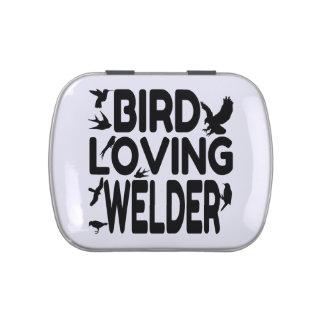 Soldador cariñoso del pájaro latas de caramelos