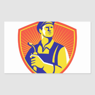 Soldador con el escudo del soplete retro pegatina