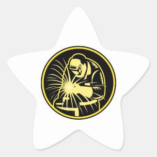 Soldador con el visera del soplete retro calcomanías forma de estrellas personalizadas