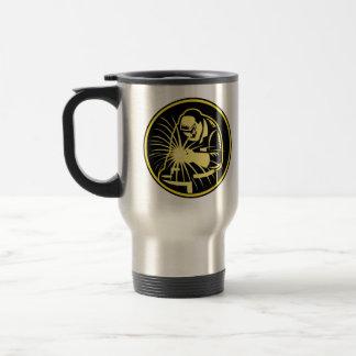 Soldador con el visera del soplete retro taza de café