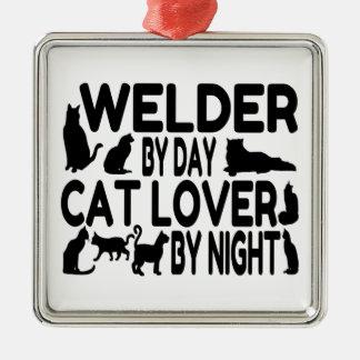 Soldador del amante del gato adorno navideño cuadrado de metal
