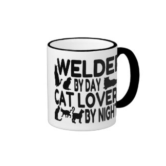 Soldador del amante del gato taza de café