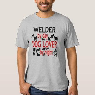 Soldador del amante del perro en rojo playeras