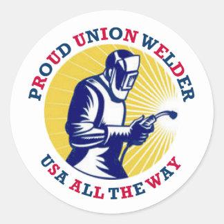 Soldador orgulloso los E.E.U.U. de la unión Pegatina Redonda