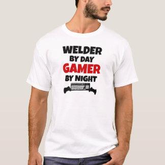 Soldador por videojugador del día por noche playera
