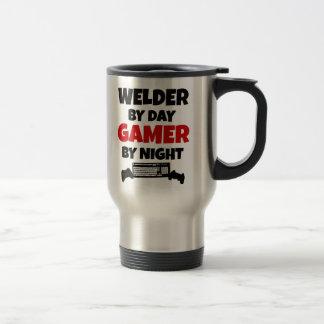 Soldador por videojugador del día por noche taza de viaje de acero inoxidable