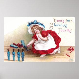 Soldados 4 de julio del chica y de juguete impresiones