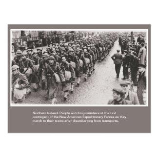 Soldados americanos de la guerra mundial 2 en tarjeta postal