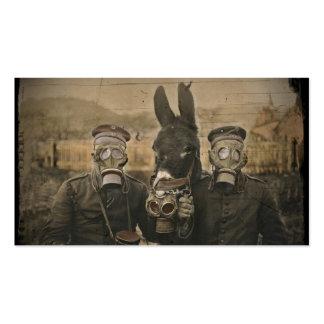 Soldados burro y caretas antigás tarjetas de visita