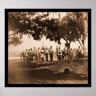 Soldados confederados y armas en Charleston, SC 18 Póster