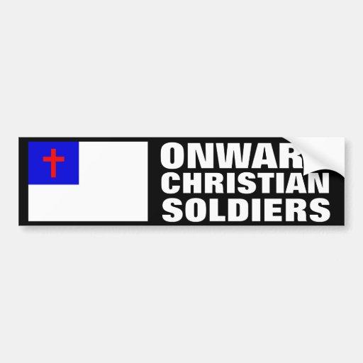 Soldados cristianos hacia adelante pegatina de parachoque