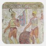 Soldados de infantería, pintura de la tumba de pegatina cuadrada