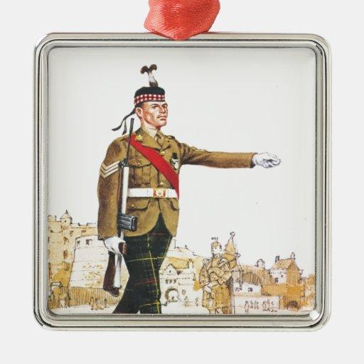 Soldados de la reina, sargento, escocés real adorno navideño cuadrado de metal