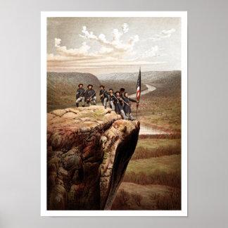 Soldados de la unión en la montaña del puesto de o posters
